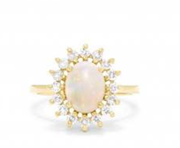 Aurora yellow gold opal and diamond ring set in 14K yellow gold at EFFY