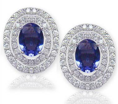 Oval Shaped Tanzanite and Diamond EarRing S set in 18KT White Gold 3.30ct C02008EW1S48W-IAJLD