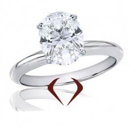 Oval diamond solitaire ring set in 14K white gold at I.D. Jewelry (