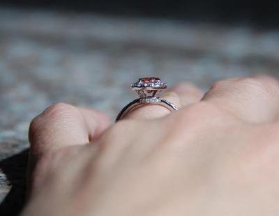 Padparadscha Sapphire Diamond Ring