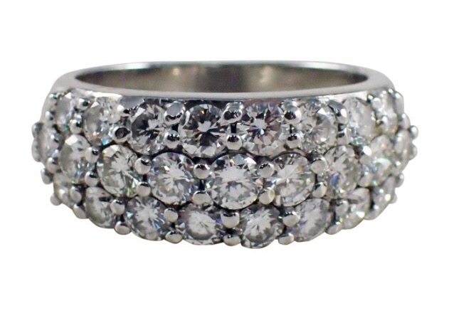 Pairaffair's 2.5 ctw 3 row Platinum Diamond Band