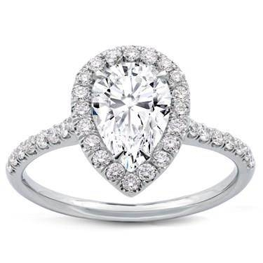 Pear shaped diamond halo setting at Adiamor