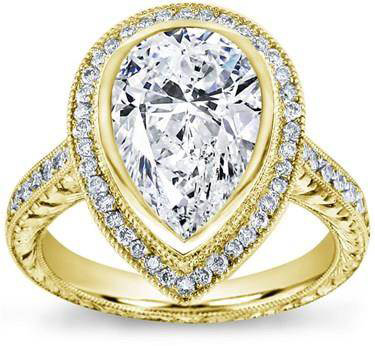 Pear Shaped Halo Pave and Filigree Setting