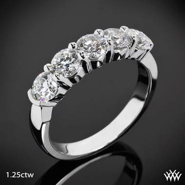 Five stone shared prong diamond wedding ring set in platinum at Whiteflash
