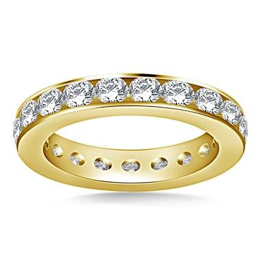 Classic channel set round diamond eternity ring set in 14K yellow gold at B2C Jewels  width=