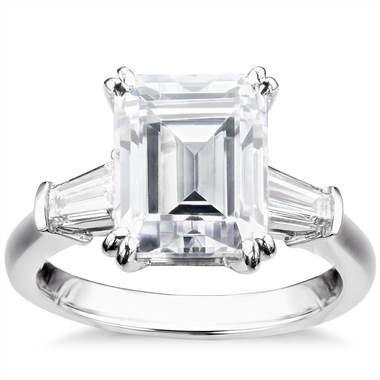 Emerald cut tapered baguette ring in platinum at Blue Nile