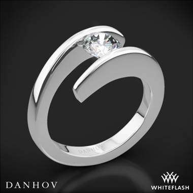 Platinum, tension set solitaire engagement ring setting at Whiteflash
