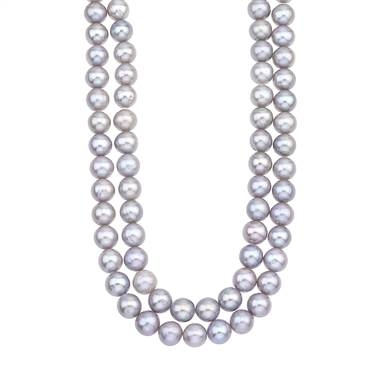 Double strand gray freshwater pearl necklace with 14K yellow gold clasp at B2C Jewels
