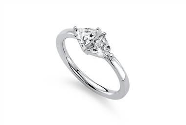 Trillion two stone diamond ring in 14K white gold at Ritani