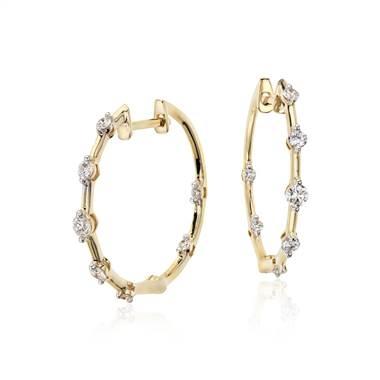 Studio diamond hoop earrings in 18K yellow gold at Blue Nile