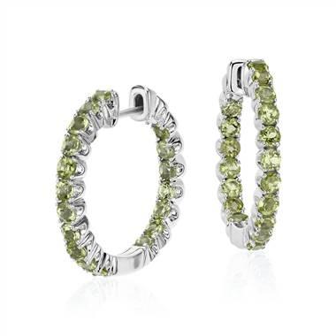 Peridot hoop earrings set in sterling silver at Blue Nile