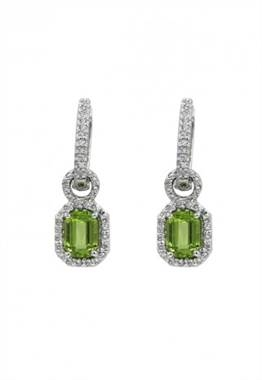 White gold peridot and diamond earrings in 14K white gold at EFFY