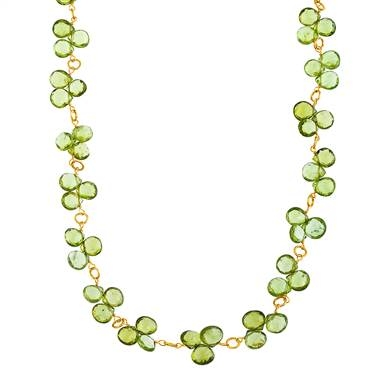 Peridot gemstone faceted briolette necklace in 14K yellow gold at B2C Jewels