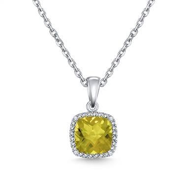 Peridot cushion cut diamond gemstone pendant necklace set in 14K white gold at B2C Jewels