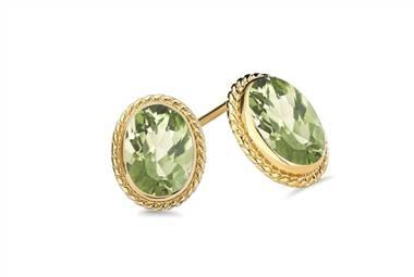 Oval shaped peridot earrings in 14K yellow go at Ritani