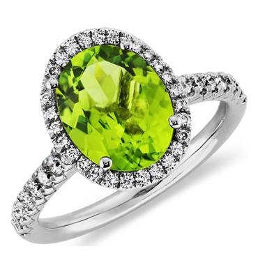 Peridot and diamond halo ring in 18K white gold at Blue Nile