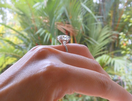 Profile view of 5.31-carat diamond ring