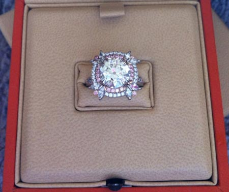 Finished double halo pink diamond ring in box