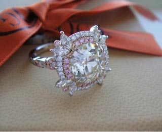 Finished double halo pink diamond ring