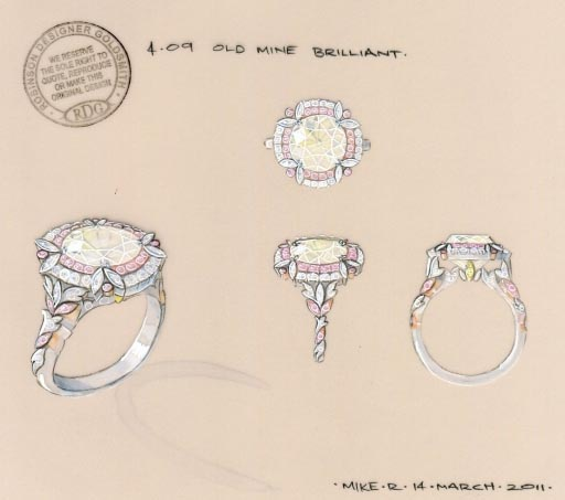 Double halo diamond ring rendering by Robinson Designer Goldsmith