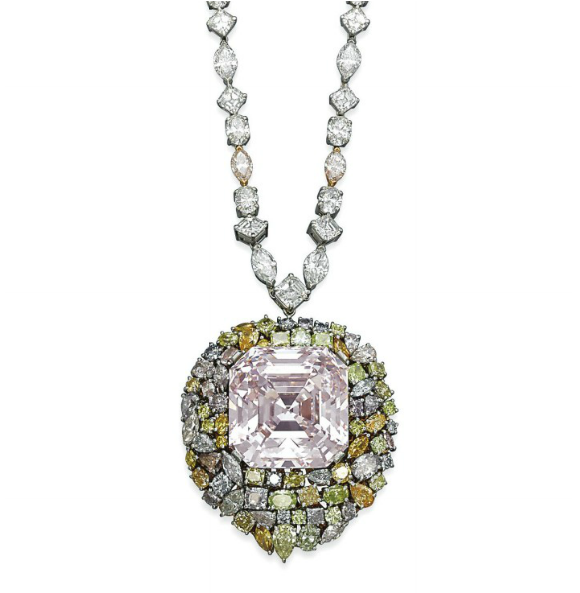 76.51-carat light pink diamond--set in a necklace by Leviev • Christie's