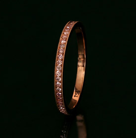 Rose Gold Pink Diamond Wedding Band