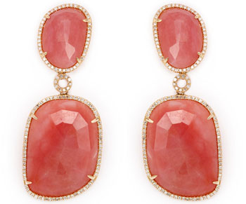 Pink opal and diamond earrings at Jeri Cohen