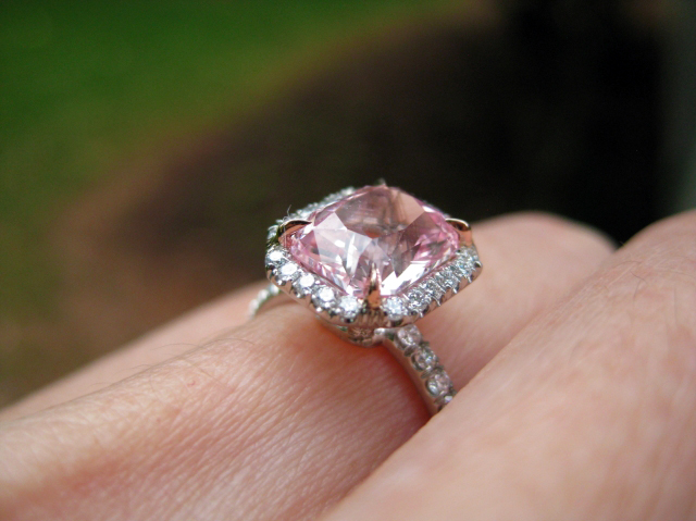 Light pink sapphire halo engagement ring • Image by swissmiss