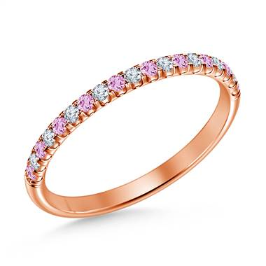 Pink Sapphire Gemstone and Diamond Comfort Fit Half Eternity Band in 14K Rose Gold