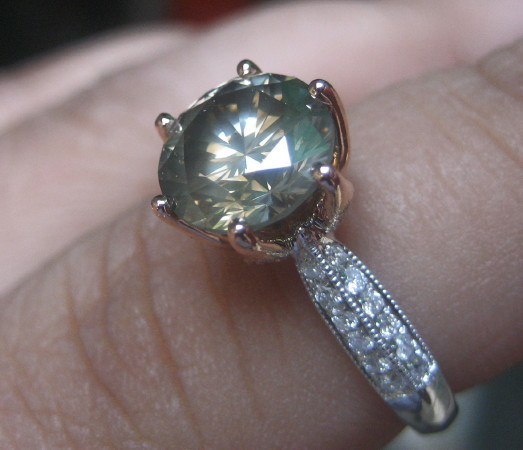 Platinumrock's 3+ ctw Green-Grey Diamond Ring