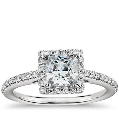 Princess cut halo diamond engagement ring set in platinum at Blue Nile