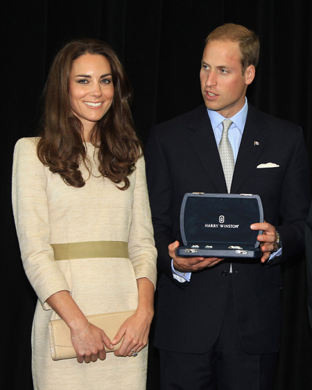 Prince William and Kate Middleton with Harry Winston diamond brooch and cufflinks