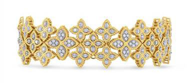 Princess Flower Wide Link Diamond Bracelet - in 18kt Yellow Gold and 18kt White Gold - (2.95 CTW)