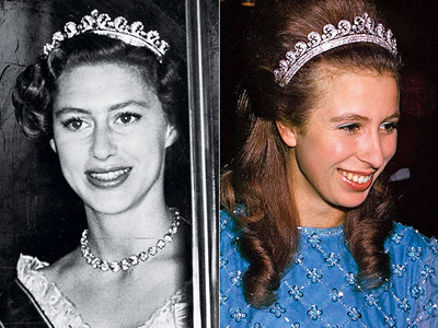 The Queen Mother's Scroll Tiara worn by Princess Margaret and Princess Anne