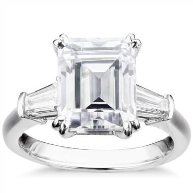 Get Inspired: Studio emerald tapered baguette engagement ring set in platinum