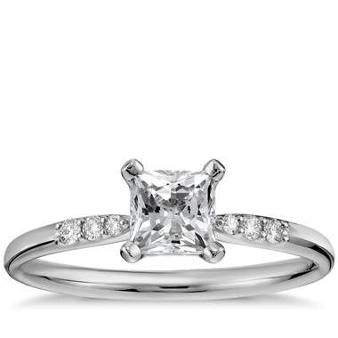 Preset princess-cut petite diamond engagement ring set in 14K white gold at Blue Nile