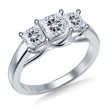 Three stone trellis diamond engagement ring set in 18K white gold at B2C Jewels