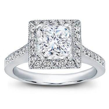 Square halo pave-set engagement ring at Adiamor