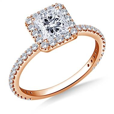 Princess cut diamond halo engagement ring set in 14K rose gold at B2C Jewels