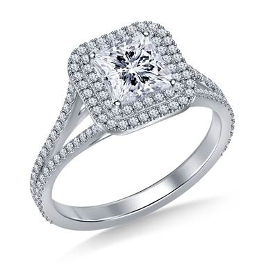 Square cut double halo split shank engagement ring set in platinum at B2C Jewels