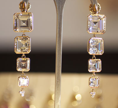 Ray Griffiths Classic Quadruple Drop Crown Work Earrings with topaz and diamonds