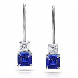Asscher cut blue sapphire earrings set in 18K white gold at I.D. Jewelry