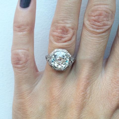 Single Stone 3.76ct K Diamond Ring