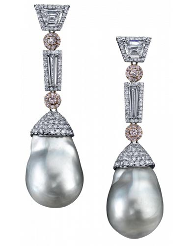 Baroque Pearl and Diamond Earrings by Robert Procop