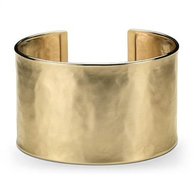 Wide hammered cuff bracelet in 14K yellow gold at Blue Nile