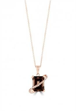 Smokey quartz and diamond pendant in 14K yellow gold at EFFY