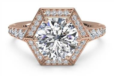 Vintage hexagonal halo vaulted diamond band engagement ring in 18K rose gold at Ritani