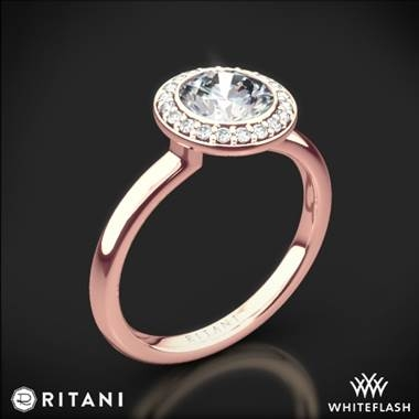Bezel set halo diamond solitaire engagement ring in 18K rose gold at Whiteflash