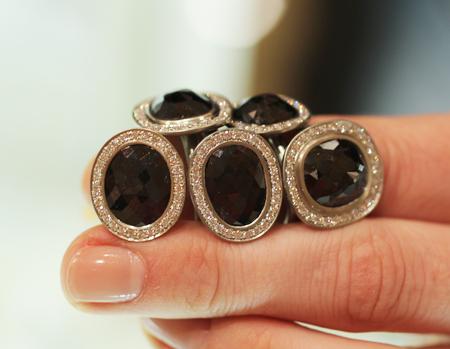 Anne Sportun Rose Cut black diamond rings at Couture 2011