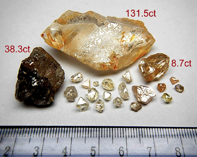 Rough diamonds recovered by Lonrho Mining Limited
